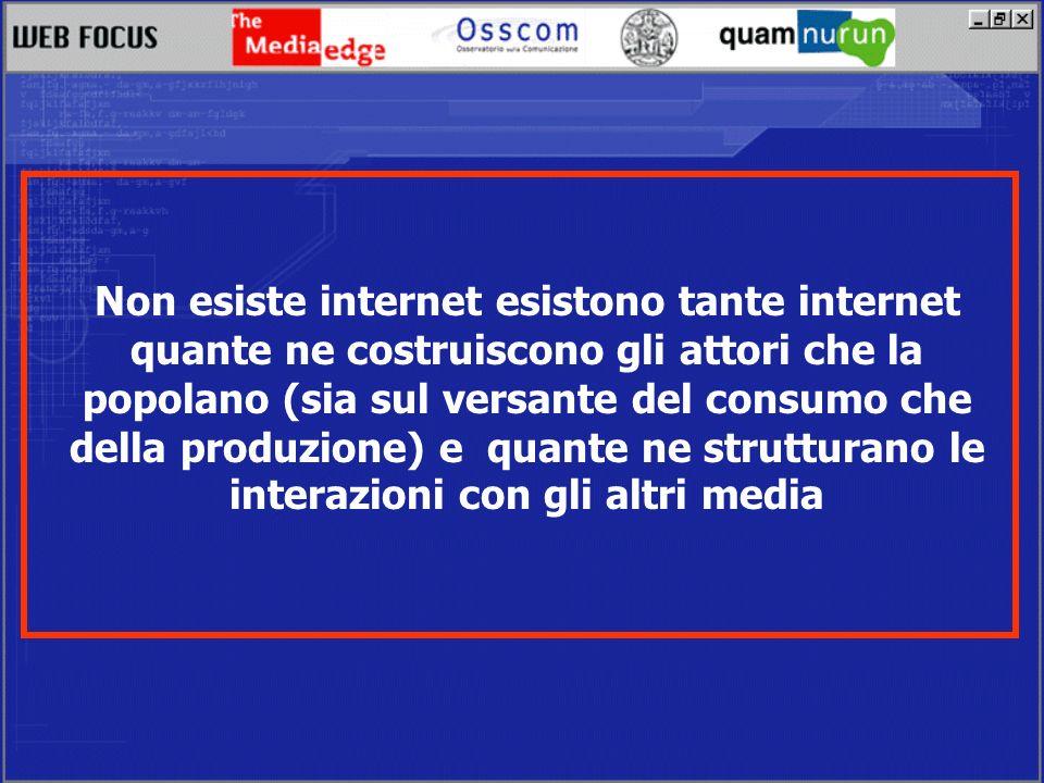 Non esiste internet esistono tante internet quante ne costruiscono gli attori che la popolano (sia sul versante del consumo che della produzione) e quante ne strutturano le interazioni con gli altri media