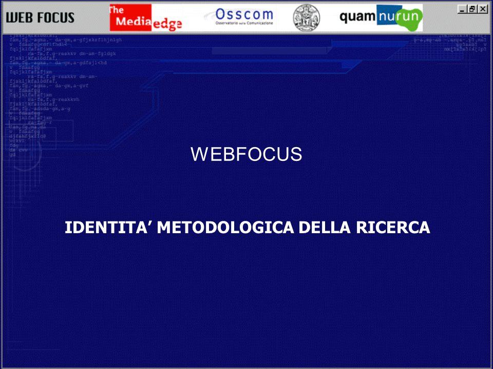 WEBFOCUS IDENTITA METODOLOGICA DELLA RICERCA