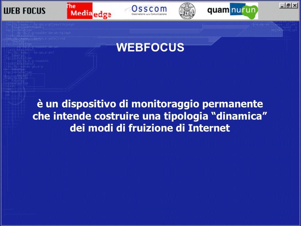 WEBFOCUS è un dispositivo di monitoraggio permanente che intende costruire una tipologia dinamica dei modi di fruizione di Internet