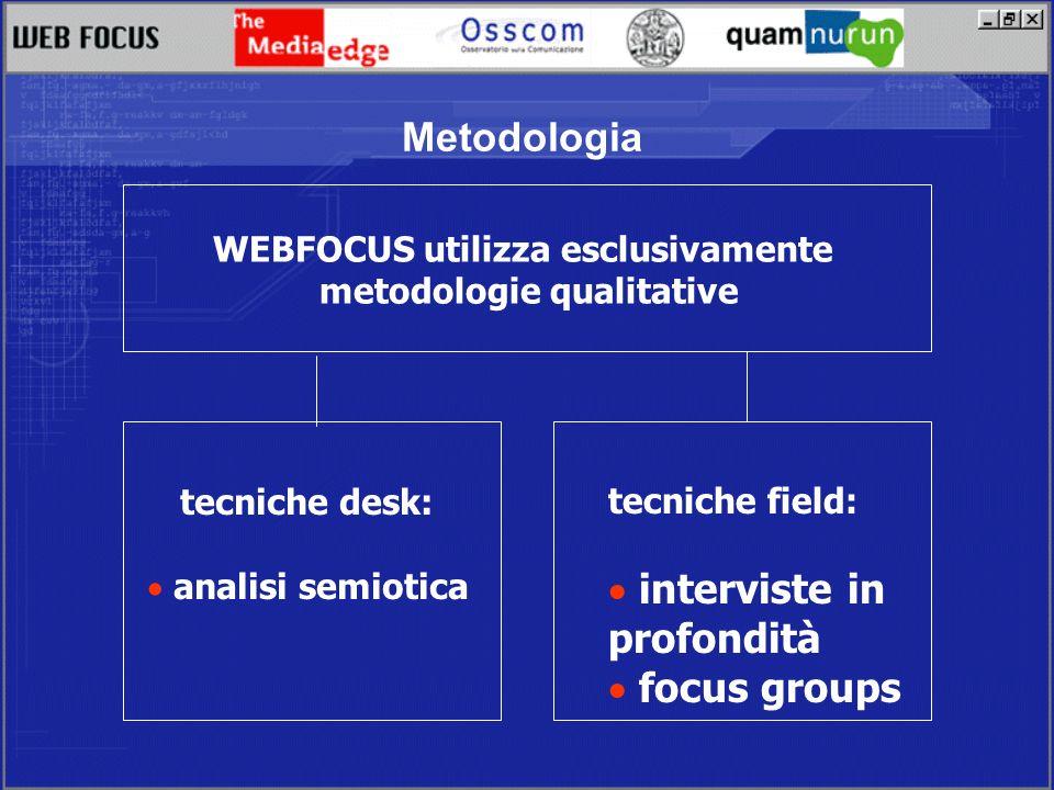 Metodologia WEBFOCUS utilizza esclusivamente metodologie qualitative tecniche desk: analisi semiotica tecniche field: interviste in profondità focus groups
