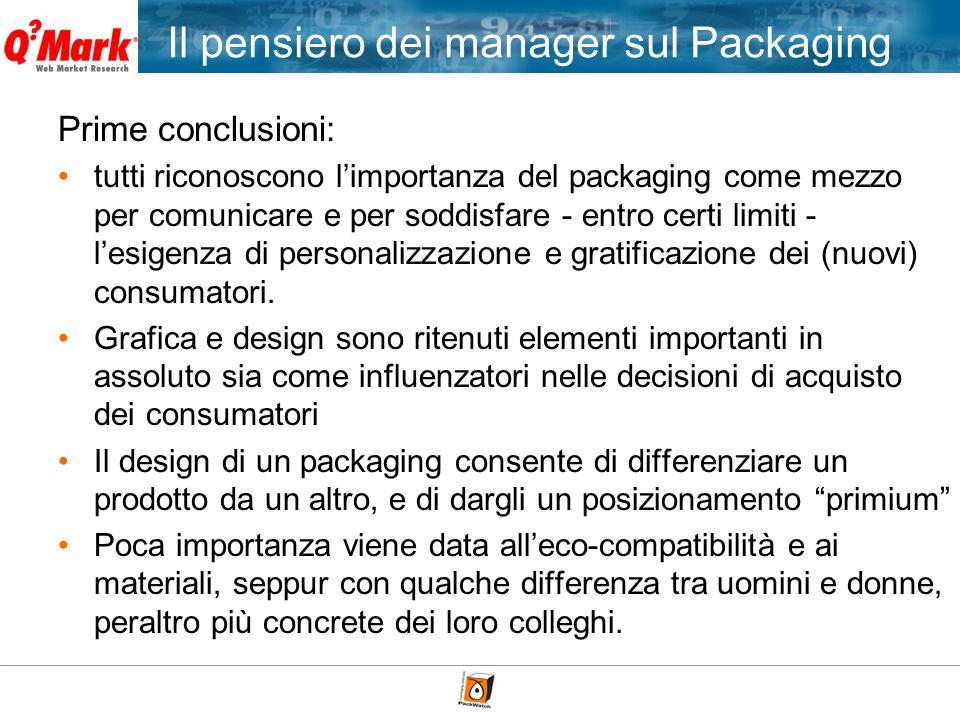 Il pensiero dei manager sul Packaging Prime conclusioni: tutti riconoscono limportanza del packaging come mezzo per comunicare e per soddisfare - entr