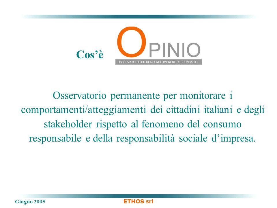 Giugno 2005 ETHOS srl Osservatorio permanente per monitorare i comportamenti/atteggiamenti dei cittadini italiani e degli stakeholder rispetto al fenomeno del consumo responsabile e della responsabilità sociale dimpresa.