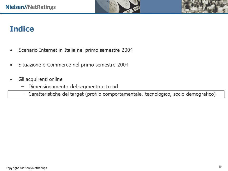 19 Copyright Nielsen//NetRatings Indice Scenario Internet in Italia nel primo semestre 2004 Situazione e-Commerce nel primo semestre 2004 Gli acquirenti online –Dimensionamento del segmento e trend –Caratteristiche del target (profilo comportamentale, tecnologico, socio-demografico)