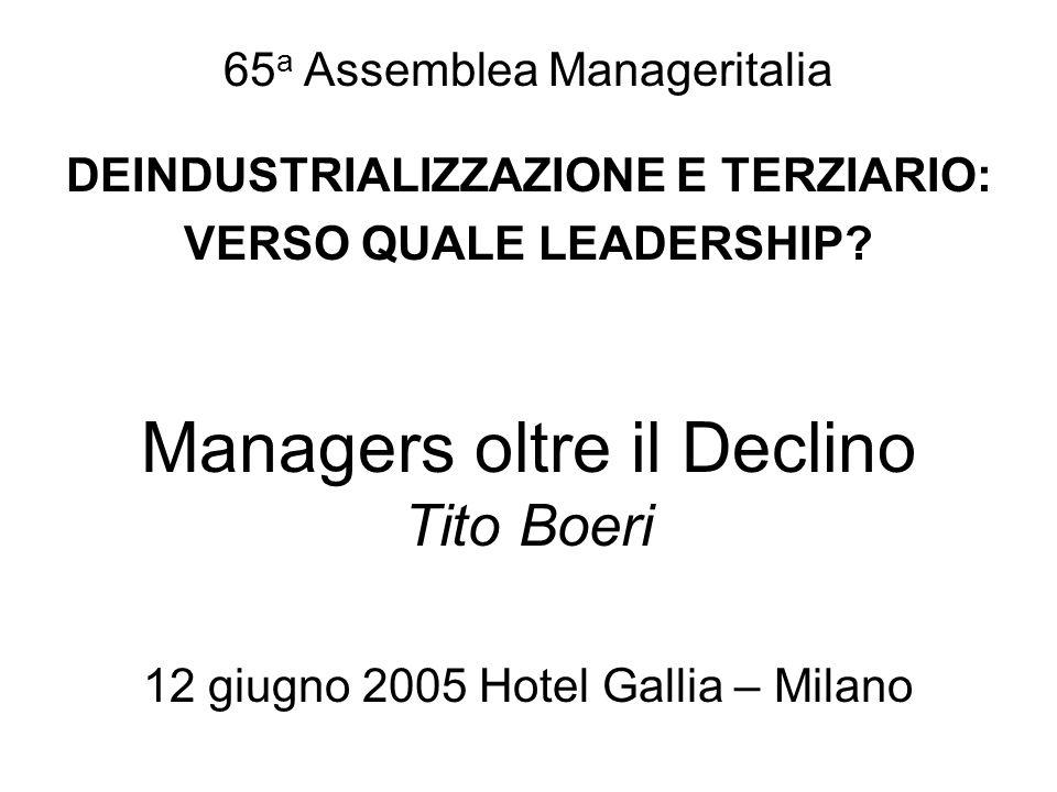 Schema della presentazione Le cifre del declino Le ragioni del declino Rompere il circolo vizioso Il ruolo dei managers nella nuova specializzazione produttiva
