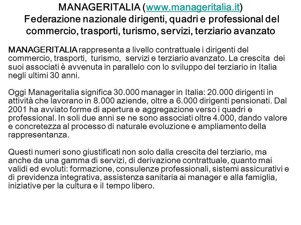 MANAGERITALIA (www.manageritalia.it) Federazione nazionale dirigenti, quadri e professional del commercio, trasporti, turismo, servizi, terziario avanzatowww.manageritalia.it MANAGERITALIA rappresenta a livello contrattuale i dirigenti del commercio, trasporti, turismo, servizi e terziario avanzato.