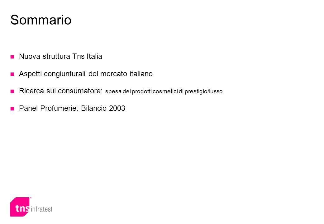 Sommario Nuova struttura Tns Italia Aspetti congiunturali del mercato italiano Ricerca sul consumatore: spesa dei prodotti cosmetici di prestigio/luss