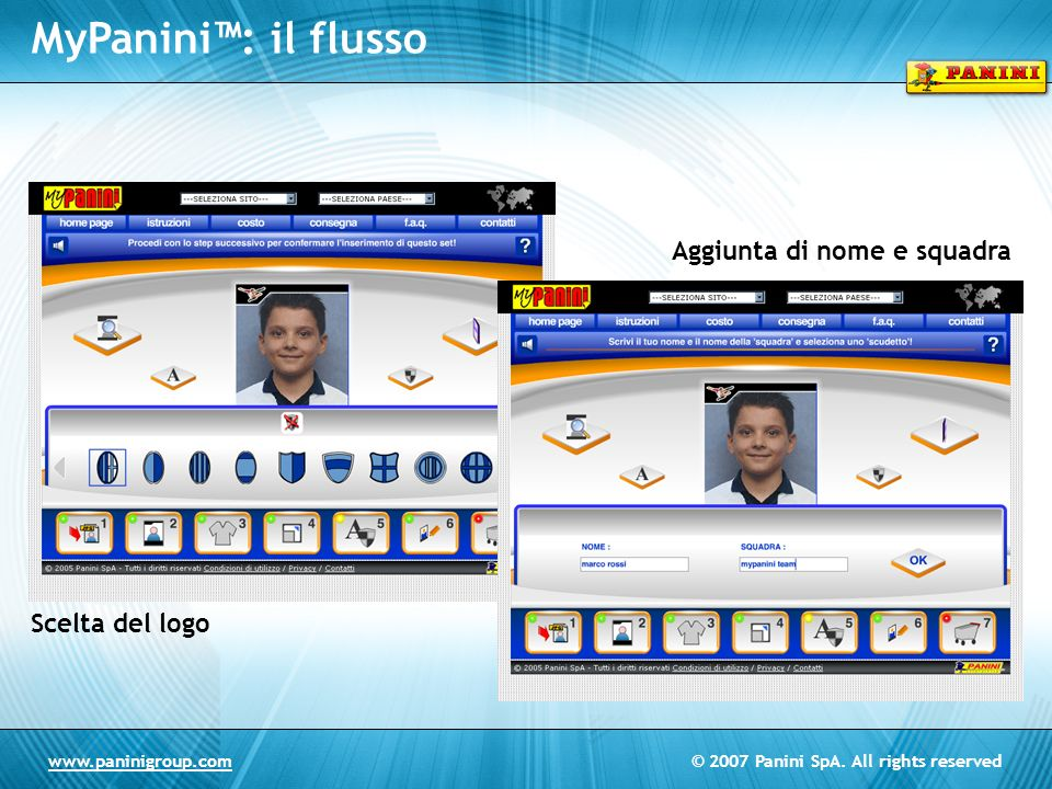 © 2007 Panini SpA. All rights reservedwww.paninigroup.com Scelta del logo Aggiunta di nome e squadra MyPanini: il flusso