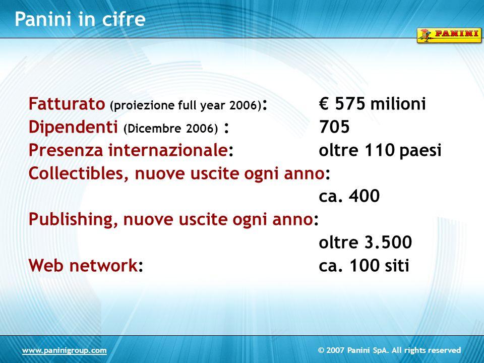 © 2007 Panini SpA. All rights reservedwww.paninigroup.com Panini in cifre Fatturato (proiezione full year 2006) : 575 milioni Dipendenti (Dicembre 200