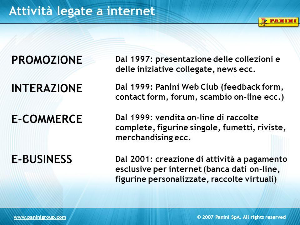 © 2007 Panini SpA. All rights reservedwww.paninigroup.com Attività legate a internet PROMOZIONE INTERAZIONE E-COMMERCE E-BUSINESS Dal 1997: presentazi