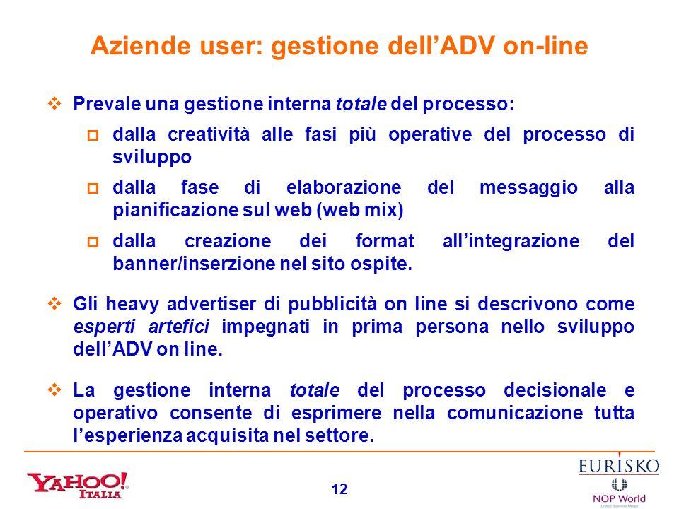 11 Aziende user: valutazione dellADV on-line Molto positiva per tutti: lADV on line assicura risultati commerciali di tutto rispetto evidenzia tratti
