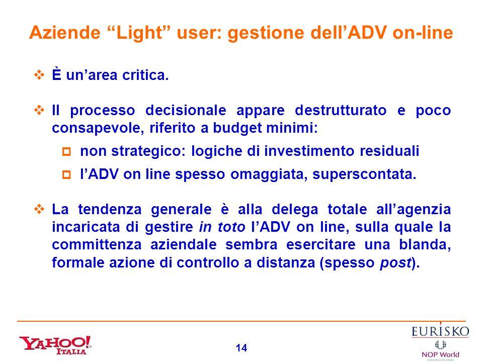 13 Aziende Light/Non user: funzione e valutazione dellADV on-line La pubblicità on line viene pragmaticamente valutata di relativa/ridotta efficacia m