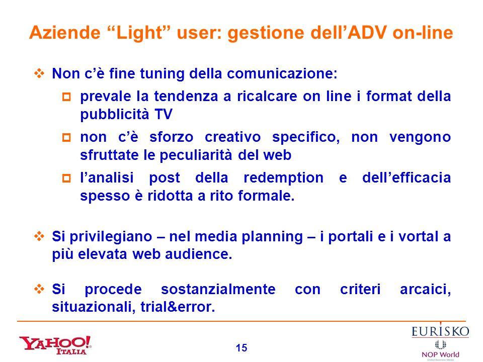 14 Aziende Light user: gestione dellADV on-line È unarea critica. Il processo decisionale appare destrutturato e poco consapevole, riferito a budget m