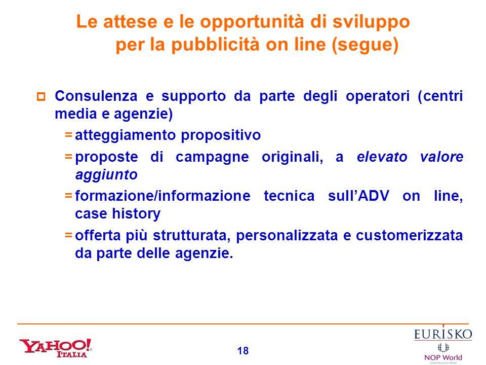17 Le attese e le opportunità di sviluppo per la pubblicità on line (segue) Un sistema di offerta più strutturato, propositivo, standardizzato: =svilu