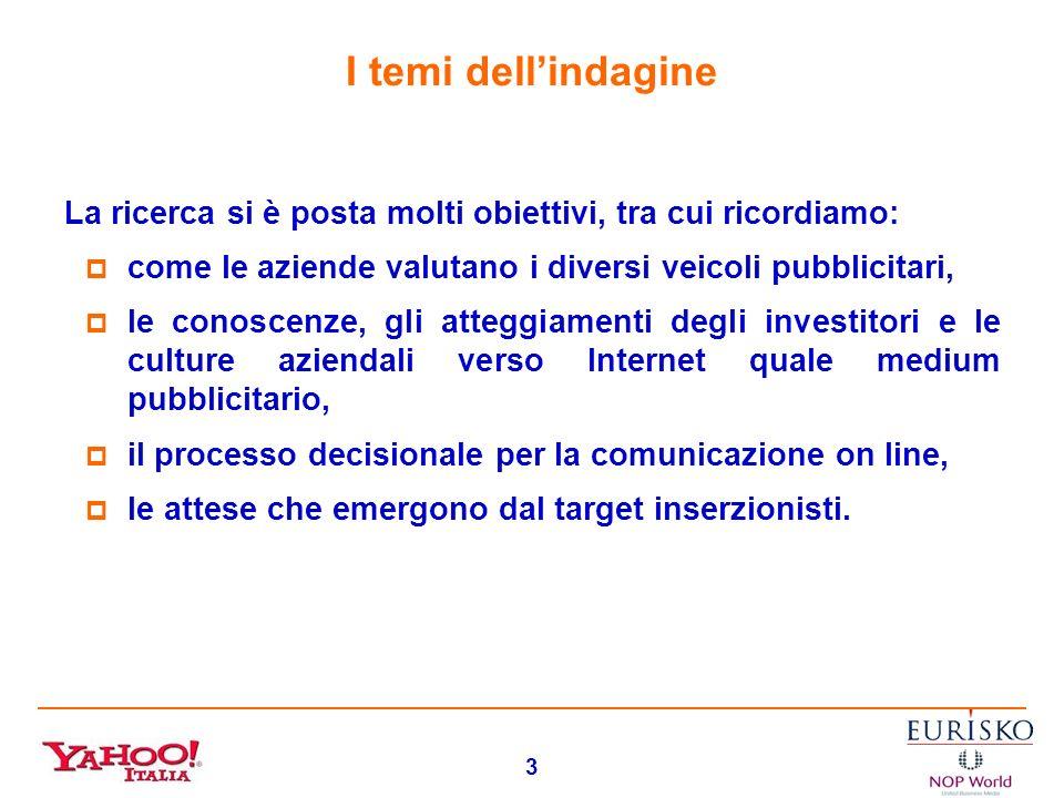 2 Lindagine svolta per Yahoo! Yahoo! Italia ha chiesto ad Eurisko unindagine qualitativa per fare il punto sulla pubblicità on line presso il target d