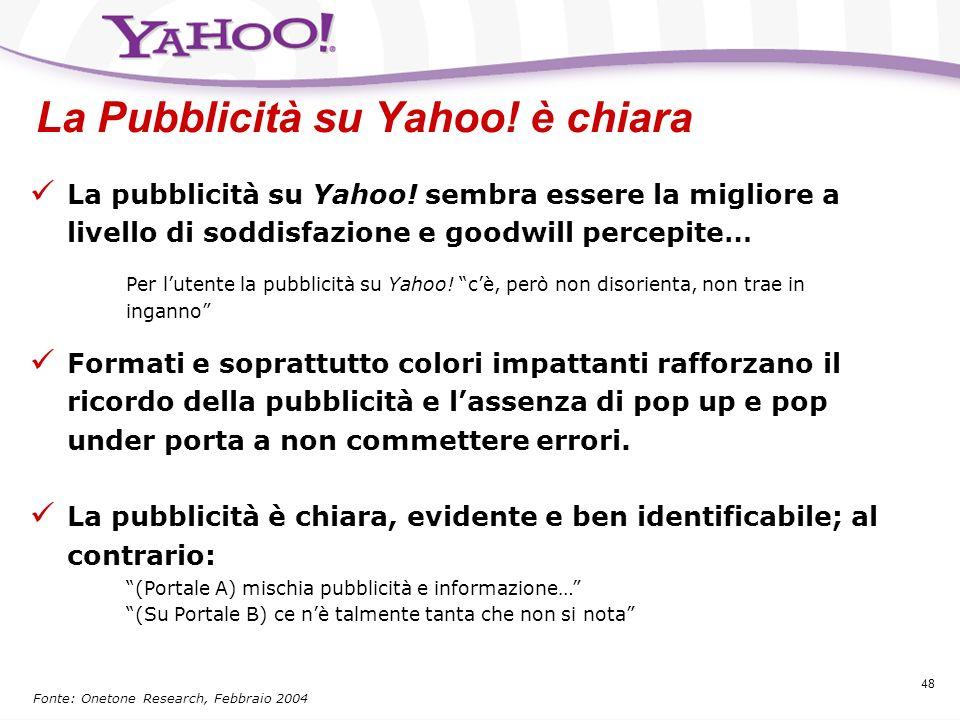 47 La pubblicità su Yahoo! Obiettivi della ricerca Trarre alcune considerazioni qualitative sul portale Yahoo! Comprendere la percezione-ricordo che l