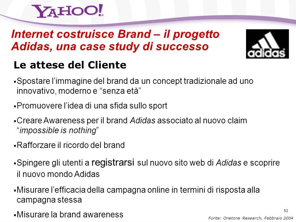 51 Gli utenti internet apprezzano la pubblicità online... Fonte: Eurisko New Media, 2004 A Valutazione Molto+Abbastanza Daccordo