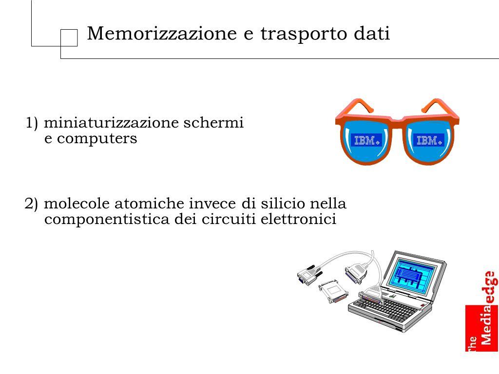 Memorizzazione e trasporto dati 1) miniaturizzazione schermi e computers 2) molecole atomiche invece di silicio nella componentistica dei circuiti elettronici