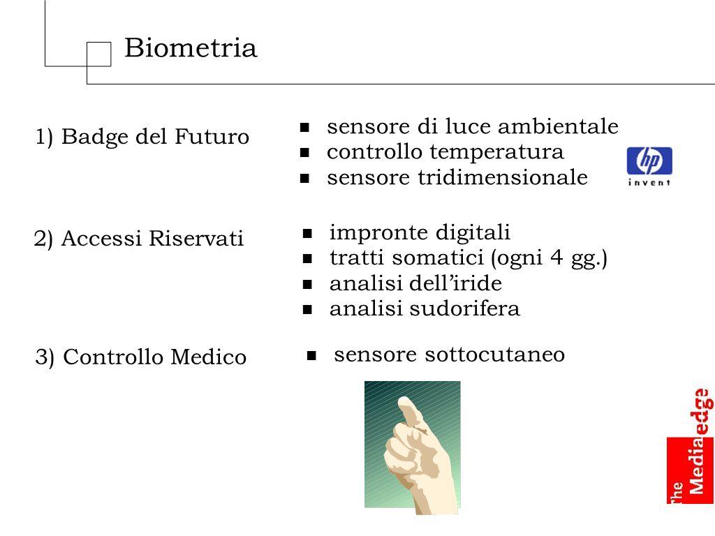 Biometria 1) Badge del Futuro n sensore di luce ambientale n controllo temperatura n sensore tridimensionale 2) Accessi Riservati n impronte digitali n tratti somatici (ogni 4 gg.) n analisi delliride n analisi sudorifera 3) Controllo Medico n sensore sottocutaneo