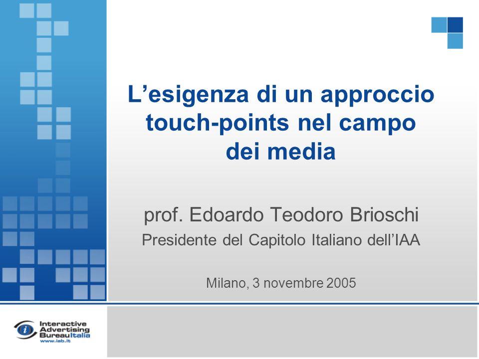 Lesigenza di un approccio touch-points nel campo dei media prof. Edoardo Teodoro Brioschi Presidente del Capitolo Italiano dellIAA Milano, 3 novembre