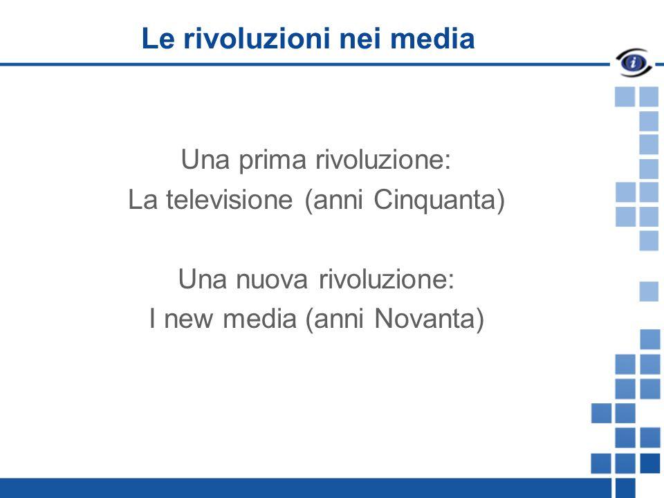 Le rivoluzioni nei media Una prima rivoluzione: La televisione (anni Cinquanta) Una nuova rivoluzione: I new media (anni Novanta)
