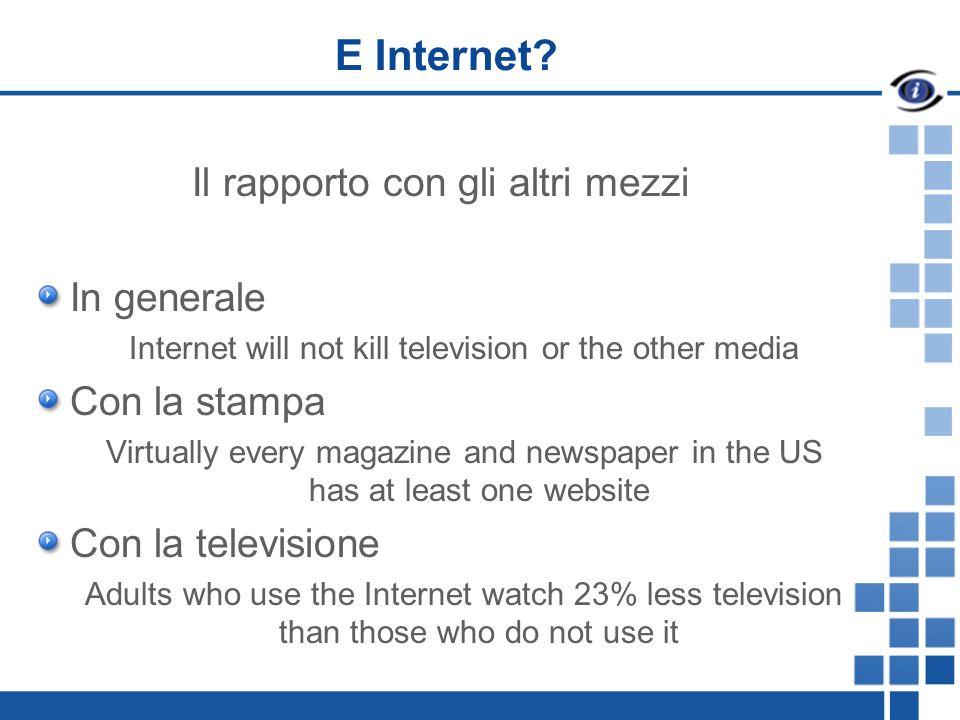 E Internet? Il rapporto con gli altri mezzi In generale Internet will not kill television or the other media Con la stampa Virtually every magazine an