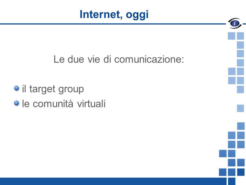 Internet, oggi Le due vie di comunicazione: il target group le comunità virtuali