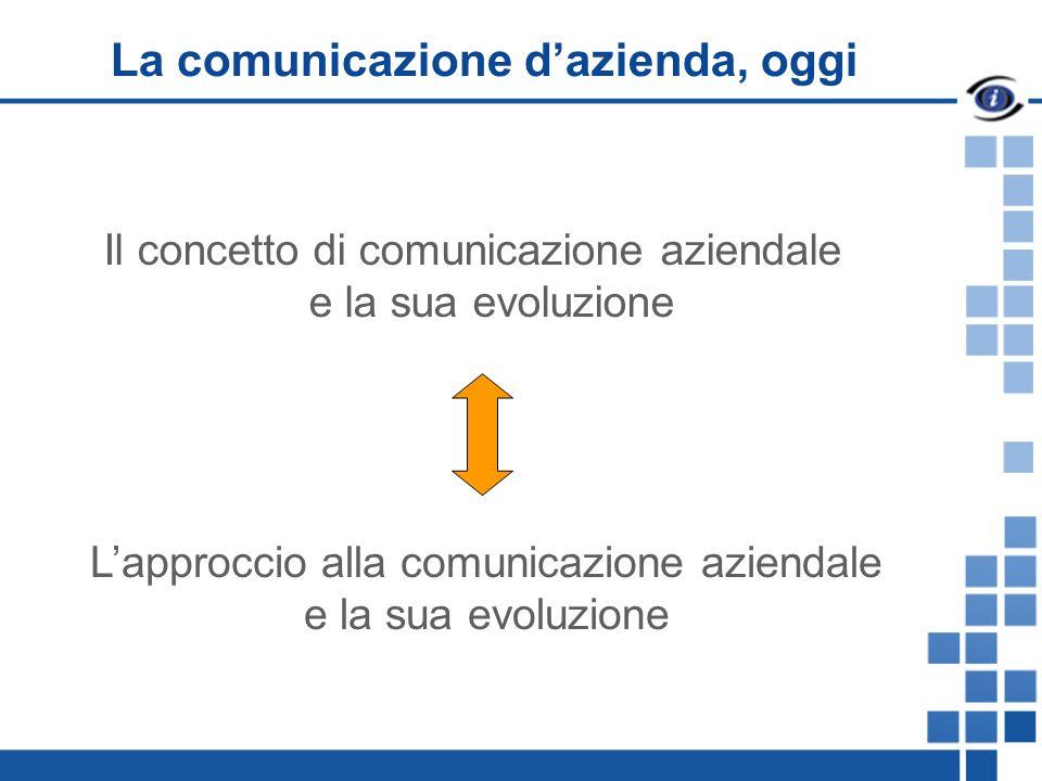 La comunicazione dazienda, oggi Il concetto di comunicazione aziendale e la sua evoluzione Lapproccio alla comunicazione aziendale e la sua evoluzione