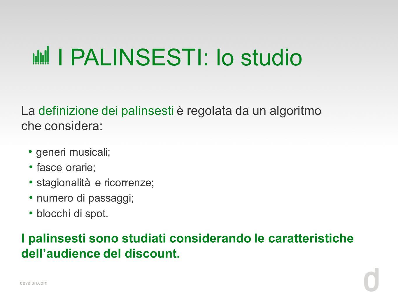La definizione dei palinsesti è regolata da un algoritmo che considera: I PALINSESTI: lo studio generi musicali; fasce orarie; stagionalità e ricorrenze; I palinsesti sono studiati considerando le caratteristiche dellaudience del discount.