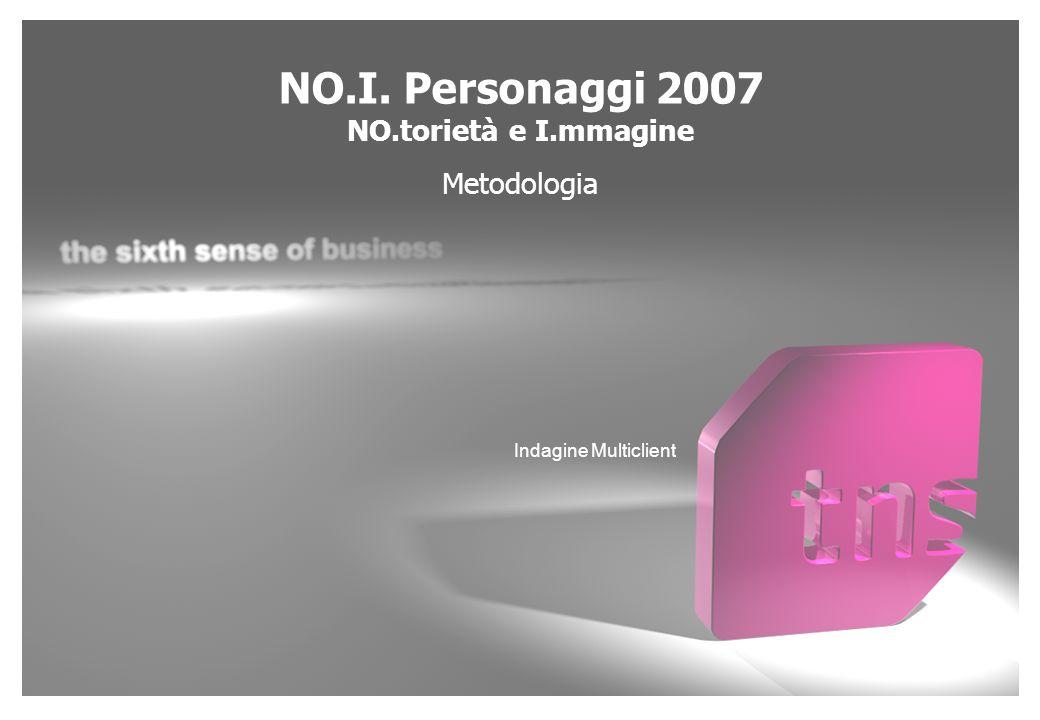 NO.I. Personaggi 2007 NO.torietà e I.mmagine Metodologia Indagine Multiclient
