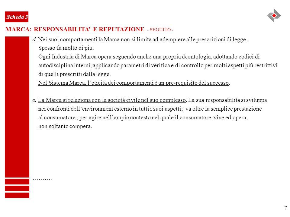 7 MARCA: RESPONSABILITA E REPUTAZIONE - SEGUITO - Scheda 3 d. Nei suoi comportamenti la Marca non si limita ad adempiere alle prescrizioni di legge. S