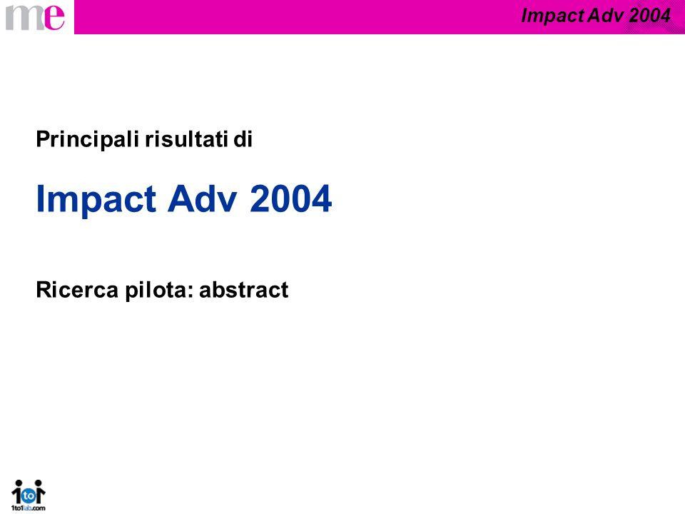 Impact Adv 2004 Metodologia Campione: 40 persone Periodo di rilevazione: settembre - novembre 2004 Tecnologia utilizzata: biofeedback Interviste qualitative di approfondimento