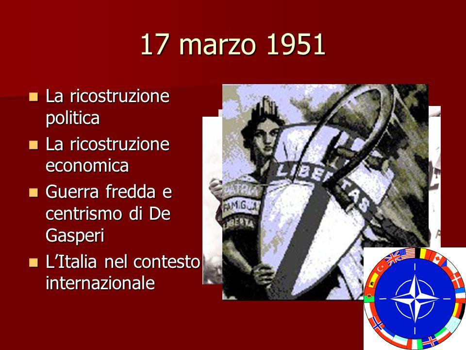 17 marzo 1951 La ricostruzione politica La ricostruzione politica La ricostruzione economica La ricostruzione economica Guerra fredda e centrismo di D