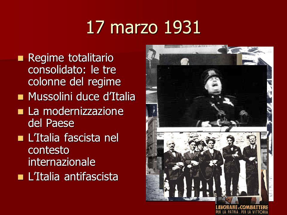 17 marzo 1931 Regime totalitario consolidato: le tre colonne del regime Regime totalitario consolidato: le tre colonne del regime Mussolini duce dItal