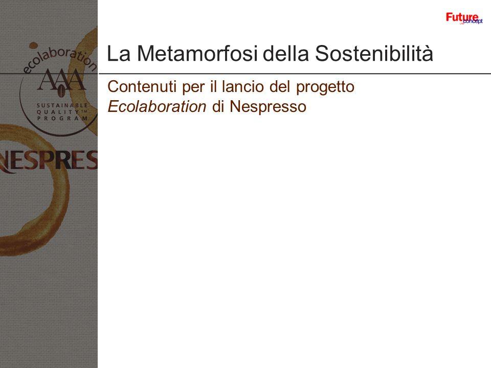 La Metamorfosi della Sostenibilità Contenuti per il lancio del progetto Ecolaboration di Nespresso