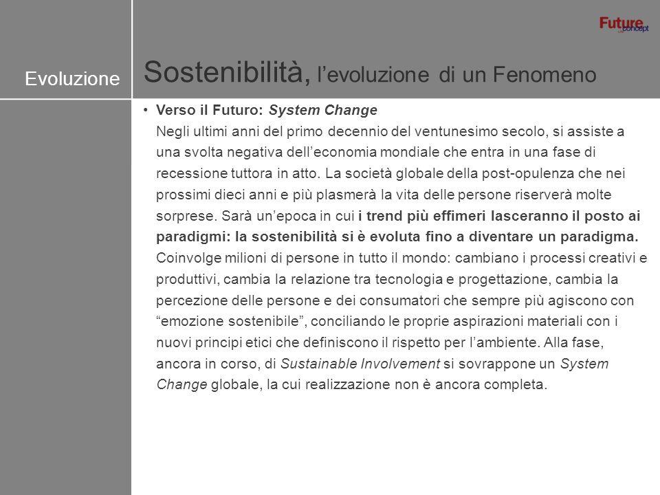 Sostenibilità, levoluzione di un Fenomeno Evoluzione Verso il Futuro: System Change Negli ultimi anni del primo decennio del ventunesimo secolo, si as