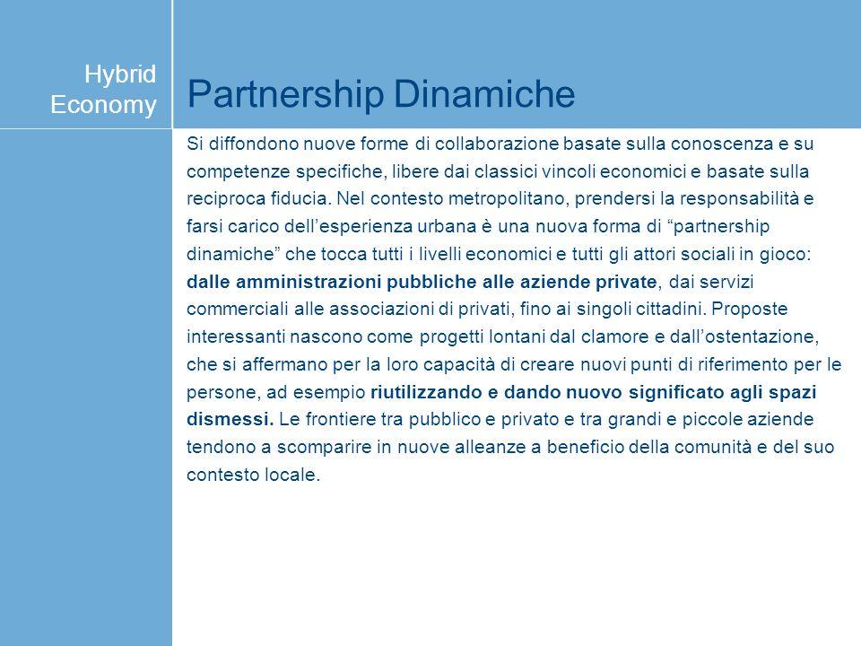 Partnership Dinamiche Si diffondono nuove forme di collaborazione basate sulla conoscenza e su competenze specifiche, libere dai classici vincoli econ