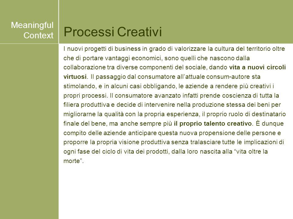 Processi Creativi I nuovi progetti di business in grado di valorizzare la cultura del territorio oltre che di portare vantaggi economici, sono quelli