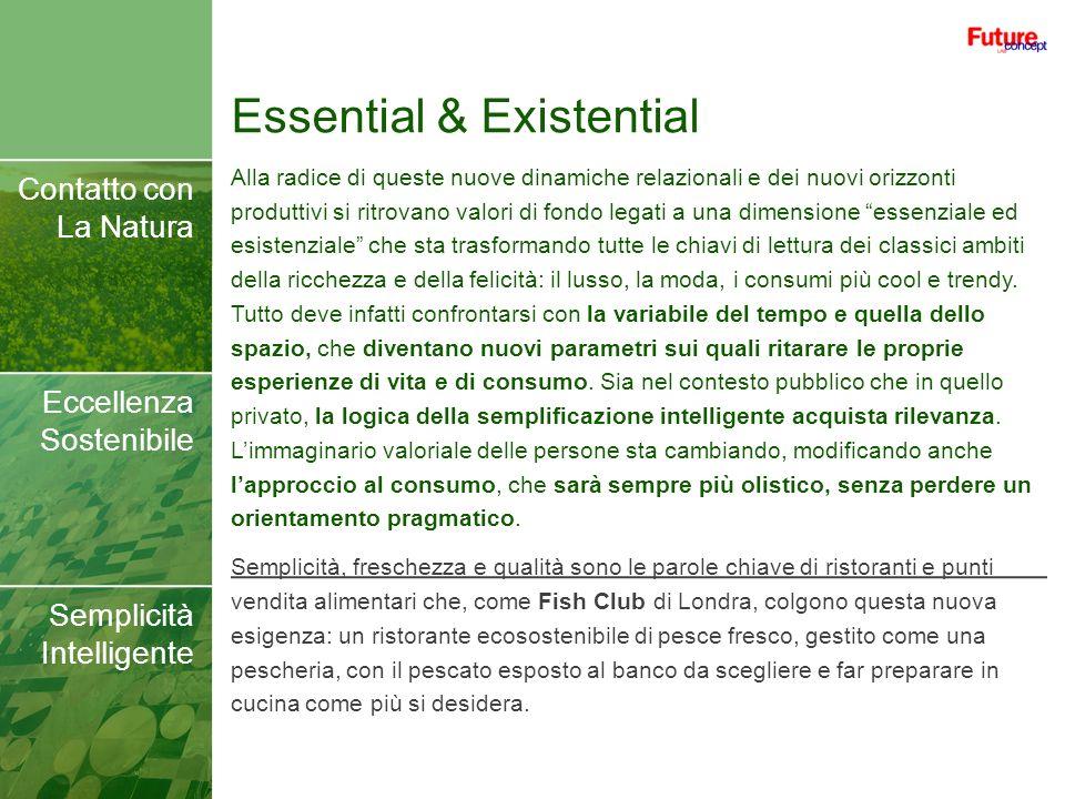 Essential & Existential Contatto con La Natura Eccellenza Sostenibile Semplicità Intelligente Alla radice di queste nuove dinamiche relazionali e dei