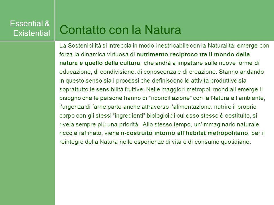 Contatto con la Natura La Sostenibilità si intreccia in modo inestricabile con la Naturalità: emerge con forza la dinamica virtuosa di nutrimento reci