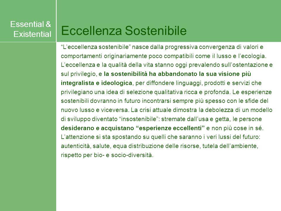 Eccellenza Sostenibile Leccellenza sostenibile nasce dalla progressiva convergenza di valori e comportamenti originariamente poco compatibili come il