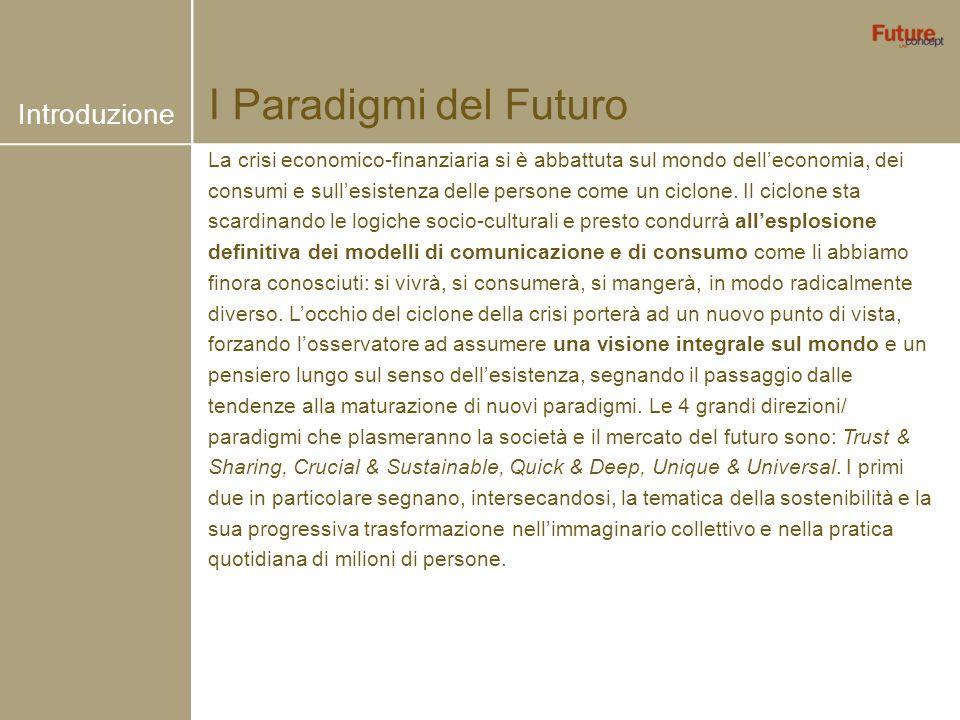 I Paradigmi del Futuro La crisi economico-finanziaria si è abbattuta sul mondo delleconomia, dei consumi e sullesistenza delle persone come un ciclone