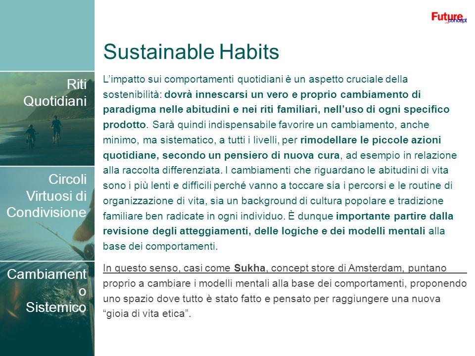 Sustainable Habits Riti Quotidiani Circoli Virtuosi di Condivisione Cambiament o Sistemico Limpatto sui comportamenti quotidiani è un aspetto cruciale