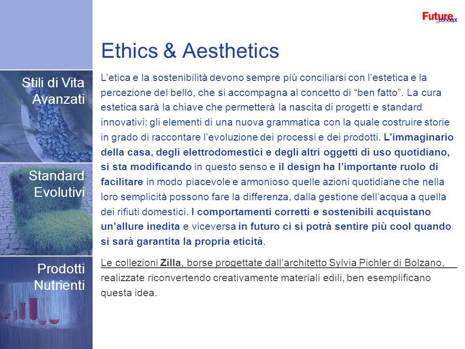 Ethics & Aesthetics Stili di Vita Avanzati Standard Evolutivi Prodotti Nutrienti Letica e la sostenibilità devono sempre più conciliarsi con lestetica