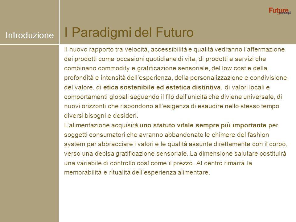 I Paradigmi del Futuro Il nuovo rapporto tra velocità, accessibilità e qualità vedranno laffermazione dei prodotti come occasioni quotidiane di vita,
