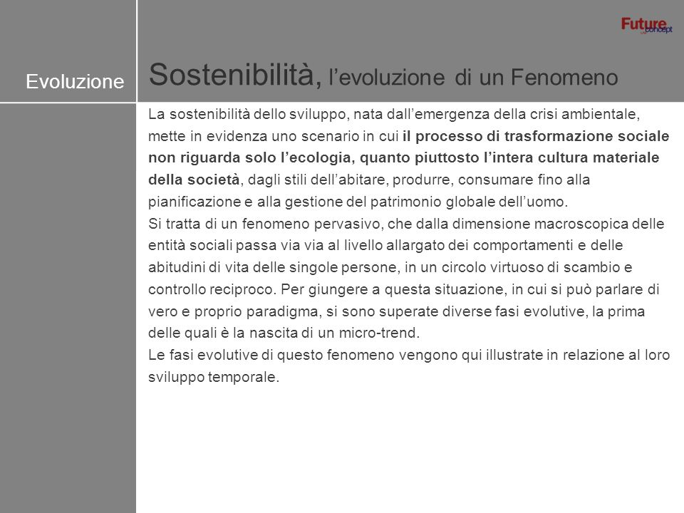 Sostenibilità, levoluzione di un Fenomeno Evoluzione La sostenibilità dello sviluppo, nata dallemergenza della crisi ambientale, mette in evidenza uno