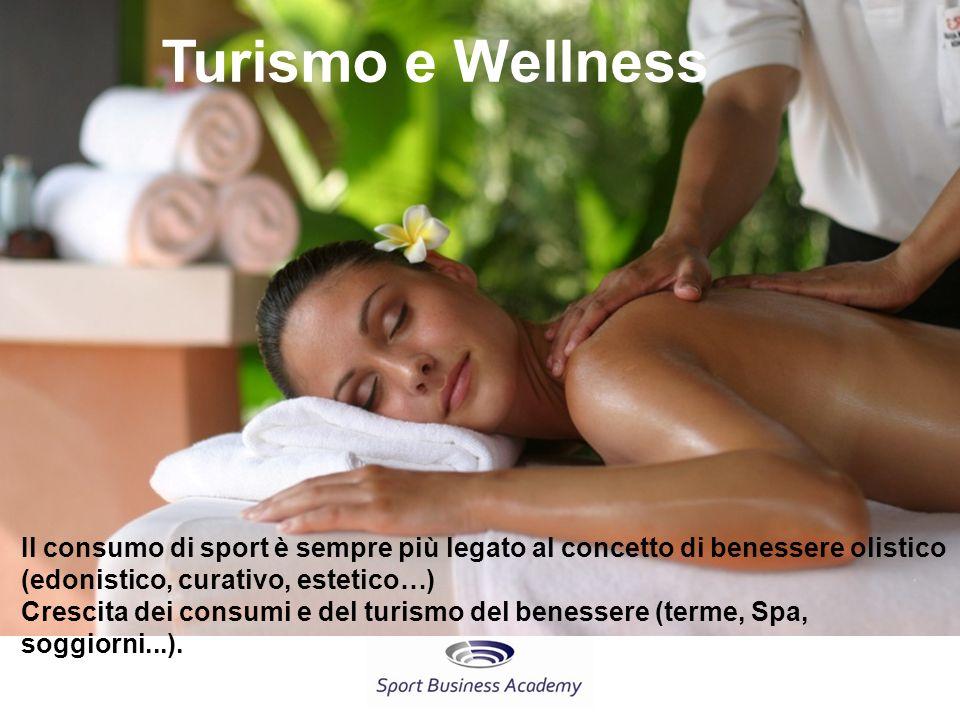 Turismo e Wellness Il consumo di sport è sempre più legato al concetto di benessere olistico (edonistico, curativo, estetico…) Crescita dei consumi e del turismo del benessere (terme, Spa, soggiorni...).