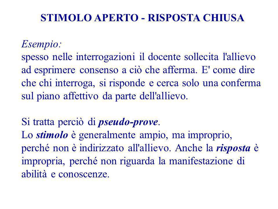 STIMOLO APERTO - RISPOSTA CHIUSA Esempio: spesso nelle interrogazioni il docente sollecita l allievo ad esprimere consenso a ciò che afferma.
