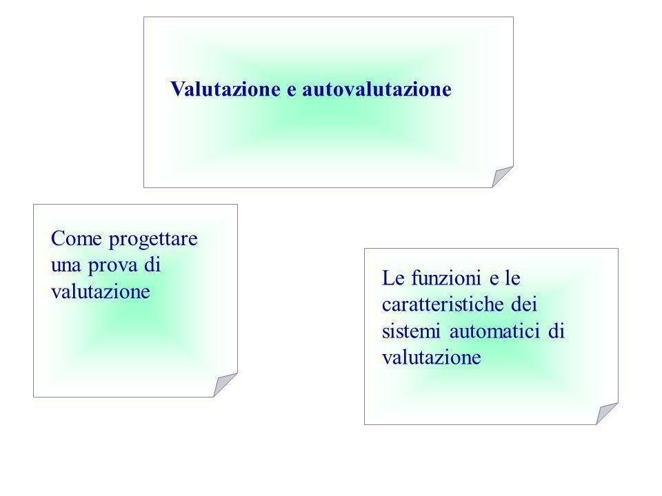 Come progettare una prova di valutazione Le funzioni e le caratteristiche dei sistemi automatici di valutazione Valutazione e autovalutazione