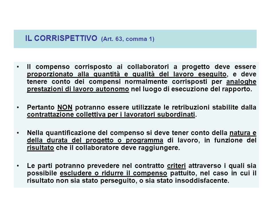 IL CORRISPETTIVO (Art. 63, comma 1) Il compenso corrisposto ai collaboratori a progetto deve essere proporzionato alla quantità e qualità del lavoro e