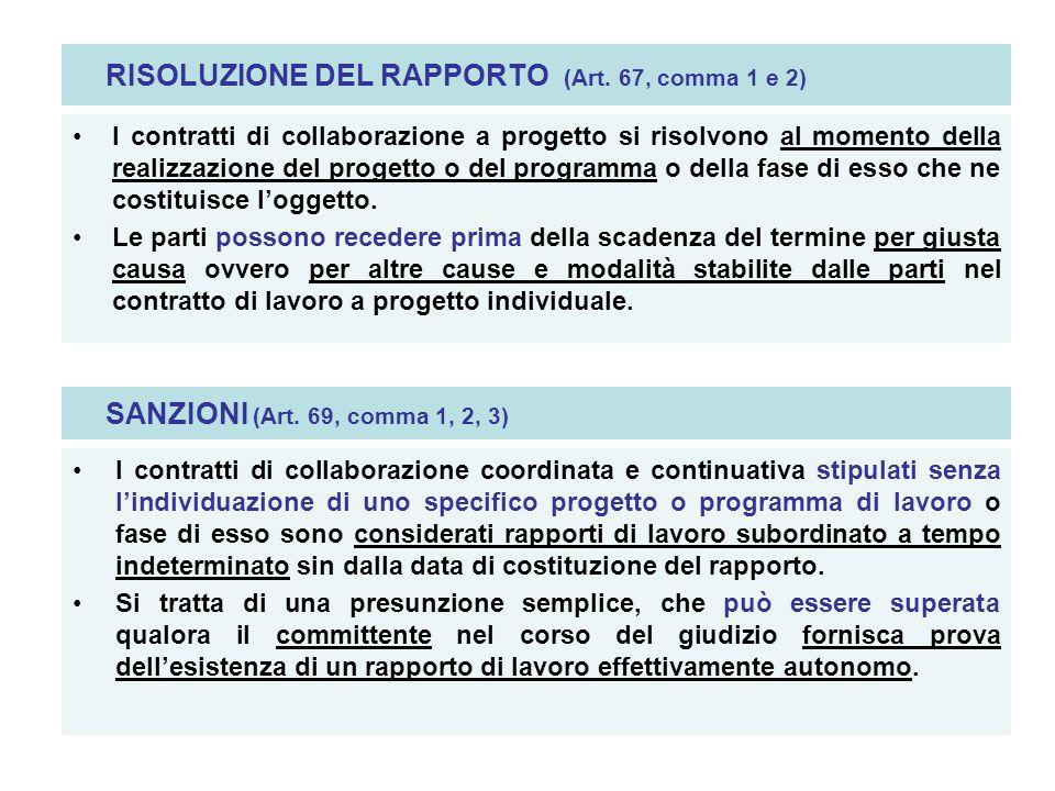 RISOLUZIONE DEL RAPPORTO (Art. 67, comma 1 e 2) I contratti di collaborazione a progetto si risolvono al momento della realizzazione del progetto o de